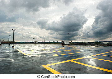 Rainy Parking - Rainy and empty parking