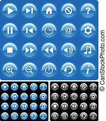 Media buttons - Blue glossy media buttons