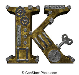 steampunk letter k on white background - 3d illustration