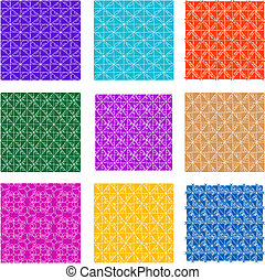 set of Seamless background flowers, floral pattern colored