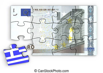 5 Euro Note Puzzle And a Greek Piece - 5 Euro note from top...