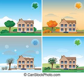 Four season background house design