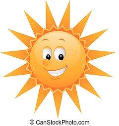 dessin animé, soleil, figure