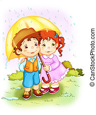 the rain - colored illustration of two children under the...