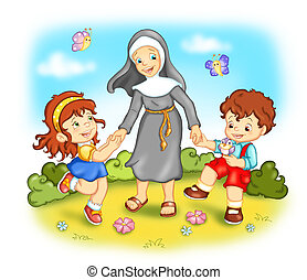 religion - colored illustration of children that play with a...