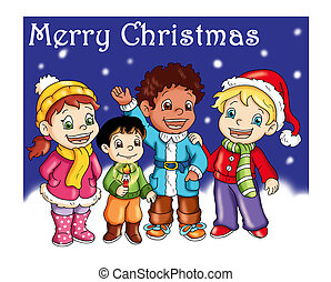 wishes - colored illustration of children that says wishes
