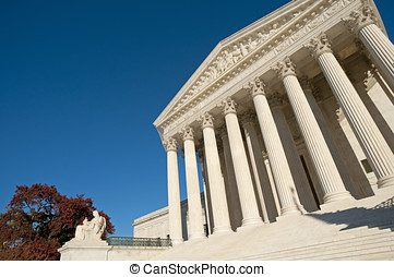 US Supreme Court - A night shot of the front of the US...