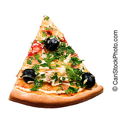 slice pizza - Cut off slice pizza isolated on white...