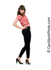 Young pretty woman in a black leggings. Isolated on white