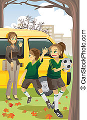 Soccer mom - A vector illustration of a mom dropping off her...