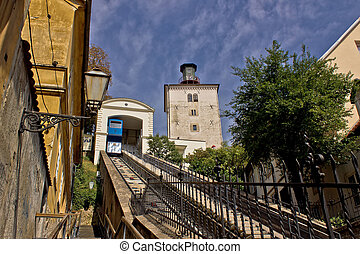 Cable car lift in Zagreb - way to upper town - historic...