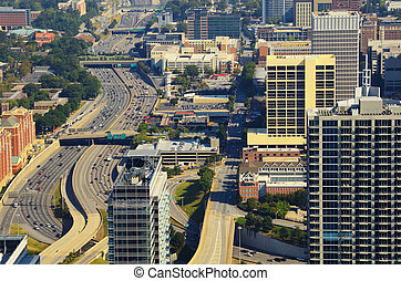 Downtown Atlanta Abstract - Aerial view of buildings in...