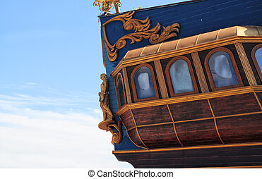 Old wooden ship - Closeup of ornamented old ship