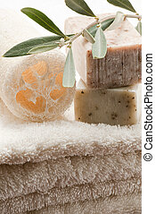 Olive soap and bath towels