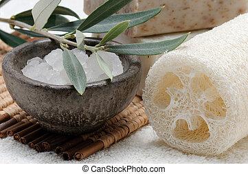 Natural sponge, sea salt and olive soap
