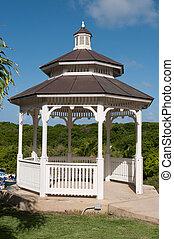 Gazebo - white gazebo on a tropical park with pathway (blue...