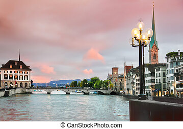panorama of evening Zurich - historical center of evening...