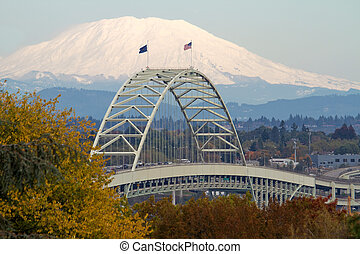 Fremont Bridge and Mount Saint Helens from Oregon