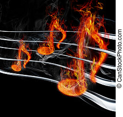 burning music - Image of burning music on a black background
