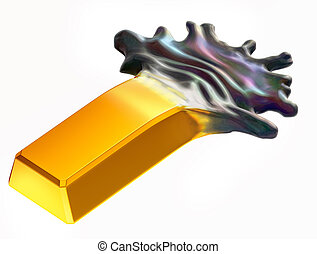 Expensive oil: Gold bar changing into crude. Isolated on...