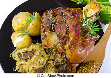 pork knuckle and beer - Roasted pork knuckle. Ham and bacon...