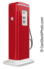 Red gas pump isolated over white background Bottom side view...