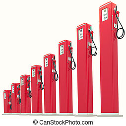 Red gasoline pumps chart: Rise in fuel cost. Isolated on...