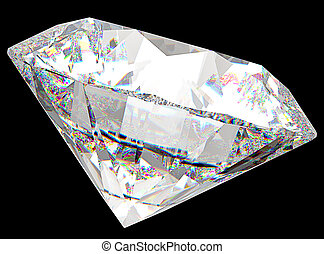 Side view of round diamond with isolated over black