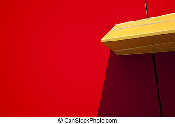 Red wall with yellow accent