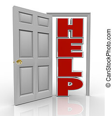 Help Door Opening to Support and Assistance - A white door...