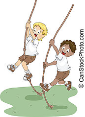 Rope Swing - Illustration of Kids Holding on to Swinging...