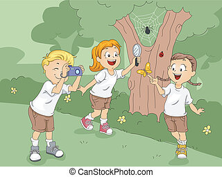 Camp Exploration - Illustration of Kids Exploring a Camp