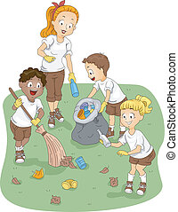Camp Cleaning - Illustration of Kids Cleaning a Camp