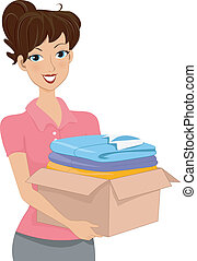 Donation Box - Illustration of a Woman Carrying a Donation...