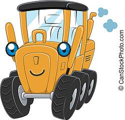 Motor Grader - Illustration of a Happy Motor Grader