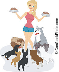 Dog Lover - Illustration of a Woman Surrounded by Dogs