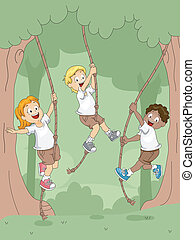 Rope Swing - Illustration of Kids Swinging with Ropes