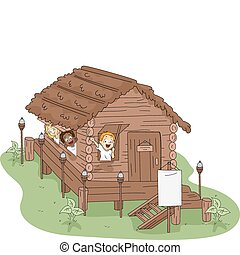 Camp House - Illustration of Kids in a Camp House