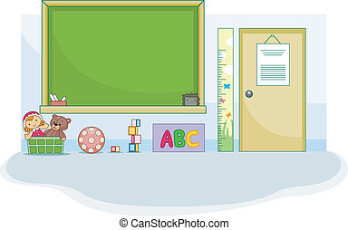 Preschool Classroom - Illustration of a Cute Preschool...