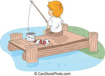 Camp Fishing - Illustration of a Kid Fishing