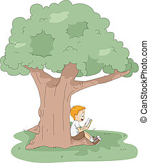 Kid Reading - Illustration of a Kid Reading a Book at Camp