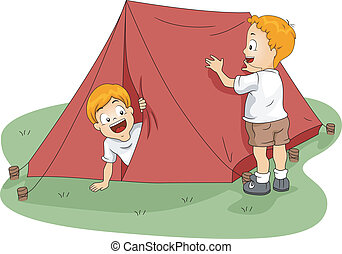 Tent Set Up - Illustration of Kids Setting Up a Tent