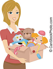 Box of Toys - Illustration of a Girl Carrying a Box Full of...