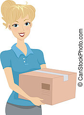 Package - Illustration of a Girl Carrying a Package /...