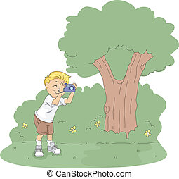 Kid Pictures - Illustration of a Kid Taking Pictures in a...