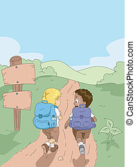 Hiking Kids - Illustration of Kids Hiking in a Camp