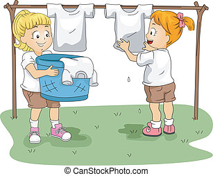 Kids Hanging Clothes