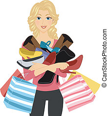 Shoe Lover - Illustration of a Girl Carrying a Pile of Shoes