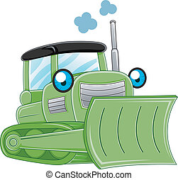 Bulldozer - Illustration of a Bulldozer Charging Ahead