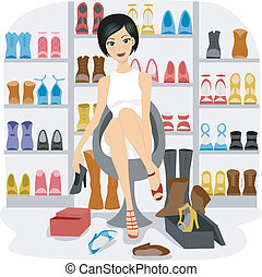 Shoe Lover - Illustration of a Girl Fitting Shoes in her...